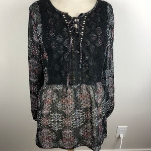 Maurices Long Sleeve Blouse Size XL Black